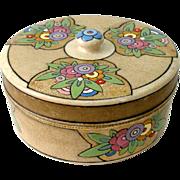 1920s Hand Painted Art Deco Round Covered Powder Vanity Trinket Jewelry Box Jar Dish Signed