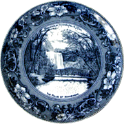 Souvenir Flow Blue Plate The Falls of Minnehaha Minneapolis Minnesota Made in England Wheelock c1900s