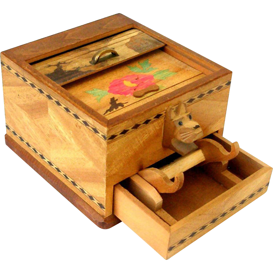 Vintage japan inlaid wood roll top cigarette pop up dispenser box from