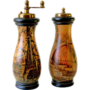 Old Florentine Ceramic Salt Shaker and Pepper Grinder Mill with Scene of Antique Italian Ships and Harbor Cities Florence