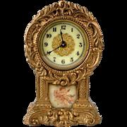 """Antique Miniature Gilt 4"""" Waterbury Clock Hand Painted Picture Porcelain Face"""