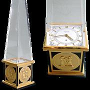 1960s Jaeger LeCoultre Obelisk Clock 8 Day Egyptian Revival Switzerland Hand Made