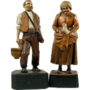 2 European WOOD CARVINGS Farm Couple MAN with Bag and Milk Bucket / WOMAN with Hen and Chicks in Apron Black Forest Bavarian Anri VERY OLD Extremely Fine Detail Polychrome