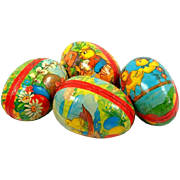 """4 German Paper Mache Easter Eggs Candy Holders 3-1/4"""" x 2-1/8 Western Germany c1950s Ex Cond"""