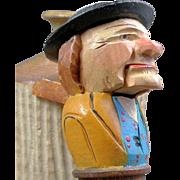 Vintage Carved Mechanical Painted Wood Figural Nutcracker Bottle Stopper Cork Old Man in Hat Opens Mouth Hand Carved German or Italian Black Forest Anri