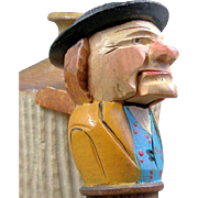 Vintage Carved Mechanical Painted Wood Figural Nutcracker Bottle Stopper Cork Old Man in Hat Opens Mouth Hand Carved German or Italian Black Forest Anri