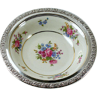 """6"""" Tirschenreuth Queen's Rose Porcelain  Bowl with Mounted Sterling Gallery Rim Rose Border Wallace Sterling"""