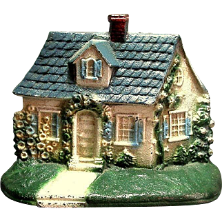 Cast Iron Cottage Door Stop Painted Vintage
