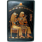 Egyptian Revival Tray Etched Mixed Metal Colors Pharaoh and Queen on Thrones Sun