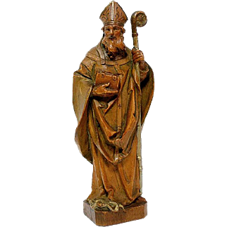 "Anri 6"" Detailed Wood Carving of St Patrick Gilt Accents Religious"