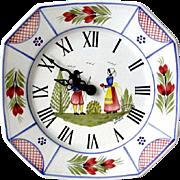 Quimper Henriot HB Mistral 8 Sided 9 inch Clock Junghans Movement