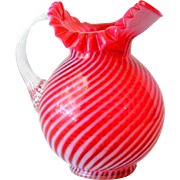 Fenton Wright Lg Cranberry Opalescent Spiral Optic Pitcher 1974
