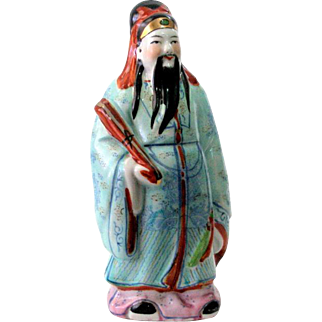 "8"" Chinese Porcelain Figure Figurine Immortal Holding Scroll"