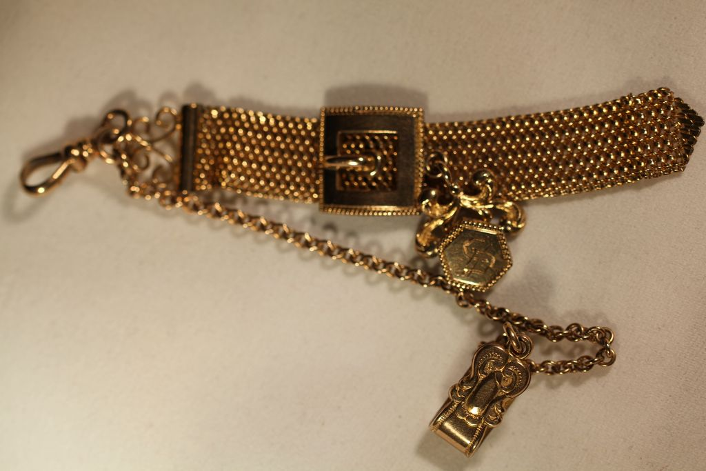 Vintage Pocket Watch Chain Buckle Slide on Mesh Drop Fob ...