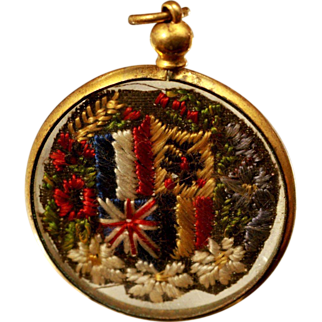 Stunning Watch FOB Sweetheart Pendant, Flags and Flowers.