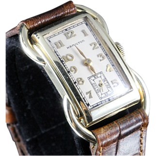 Hamilton Rare Solid 14K Gold Bentley Wristwatch circa 1937