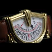1985 Jean D'Eve Sectora Double Retrograde Asymmetrical Half Moon Watch.
