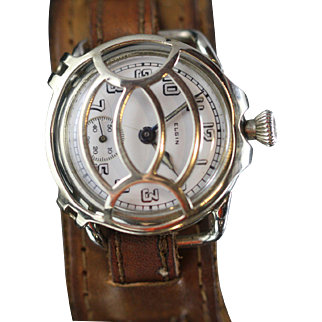 1919 WW1 Elgin Military Trench Watch, with Protective Shrapnel Guard.
