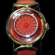 1960 Ladies Ernest Borel Red Kaleidoscope Cocktail Swiss Watch