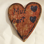 Old Folk Art Wood Heart with Greeting