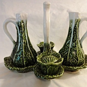 Vintage Majolica Cabbage Cruets w Stand, Salt and Pepper