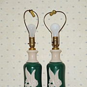 Vintage Aladdin Alacite Electric Lamps - Unusual Color