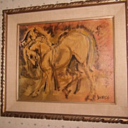 OLD Mid 20th Century Oil on Board Painting Moderne - Signed - Horses