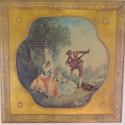 Vintage Nicolas Lancret: The Music Lesson - Medici Society Print w Gilt Frame