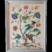 Vintage Crewel Embroidery Oriental Bird