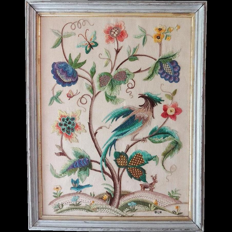 Vintage crewel embroidery oriental bird from nuffsstuff on