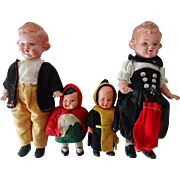 Old German Doll Family - 4 Pcs