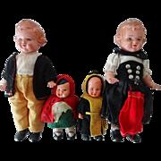 Old German Doll Family - 4 Pcs