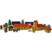 Miniature Wooden Village w Figures