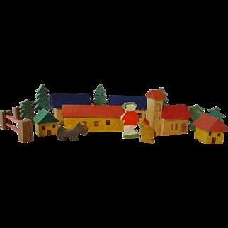 Miniature Wooden Village w Figures