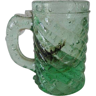 Old Dolls House Toy Glass Mug - Green