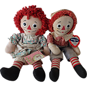Old Raggedy Ann and Raggedy Andy Dolls w Labels