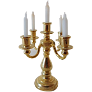 Vintage Miniature Doll House Candelabra with Candles