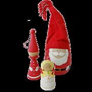 Vintage Swedish Wood Christmas Ornaments Set