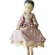 Antique Wooden Penny Doll w Clothes