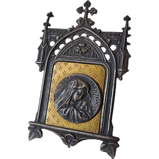 Old Miniature Gothic Framed Religious Medal