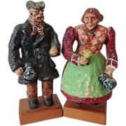Old Scandinavian Folk Art Figurines - Signed