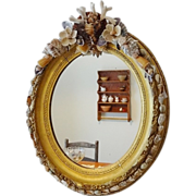 Shellwork and Gilt Oval Frame Mirror
