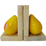 Marble Stone Fruit Bookends - Pears