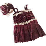 Antique Bebe Fashion Doll Velvet Dress and Hat