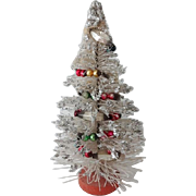 Old Wire Brush Christmas Tree w Decorations