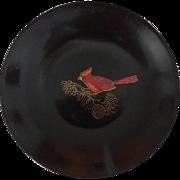Couroc Bakelite Plastic Bowl Mid Century - Cardinal on Pine Branch