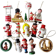 Vintage Miniature Wood Christmas Ornaments Figurals