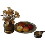 Dollhouse Accessory Collection:  Silver Porringer, Plate w Fruit, Flowers in Vase