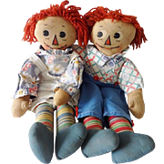Old Raggedy Ann and Andy Cloth Dolls