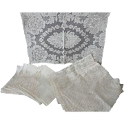 Old Set Alencon Lace Place Mats with Napkins
